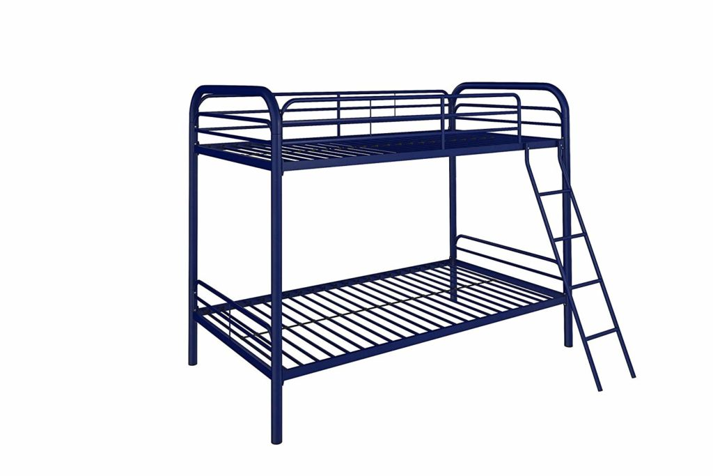 DHP Twin-Over-Twin Bunk Bed with Metal Frame and Ladder