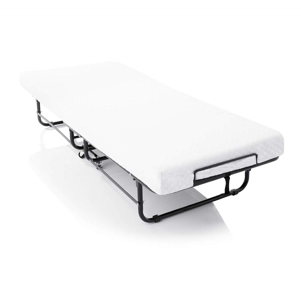LUCID Rollaway Folding Guest Bed with Memory Foam Mattress